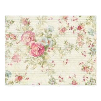 Motif floral rose grunge chic minable cartes postales