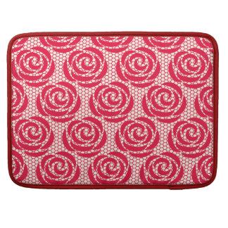 Motif floral rouge élégant de dentelle housse pour macbook