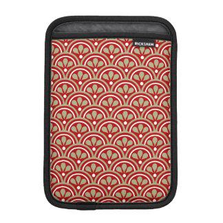 Motif floral rouge et kaki d'art déco housses pour iPad mini