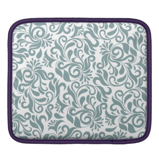 Motif floral vert grisâtre de damassé poches iPad