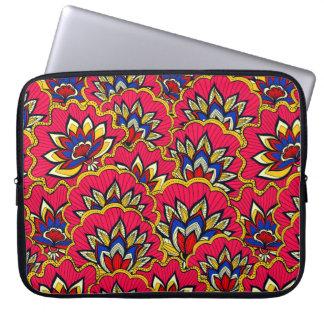Motif floral vibrant rouge asiatique housse pour ordinateur portable