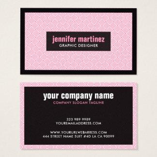 Motif géométrique blanc et noir rose d'ArtDeco Cartes De Visite