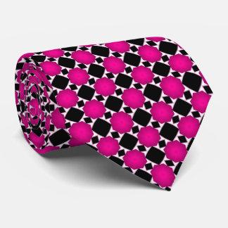 Motif géométrique de diamant noir et blanc rose cravate