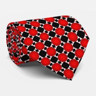Motif géométrique de diamant noir et blanc rouge cravate