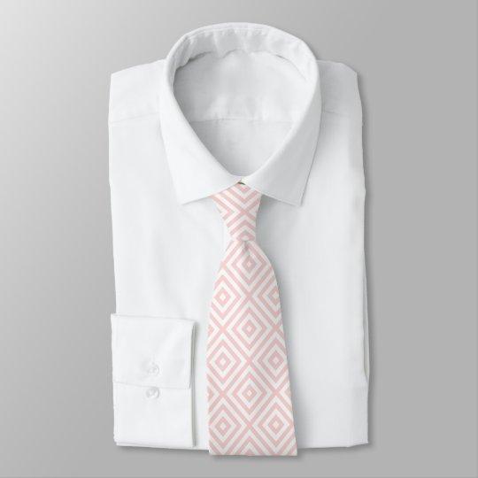 Motif géométrique de rose et blanc en pastel cravate