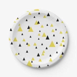 Motif géométrique jaune et noir personnalisé assiettes en papier