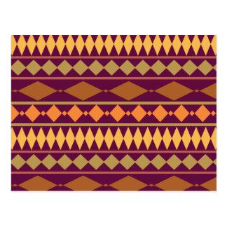 Motif géométrique tribal de rouille magenta carte postale