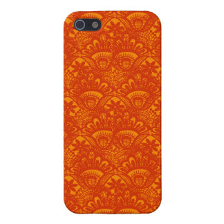 Motif Girly de dentelle orange élégante vibrante Étuis iPhone 5