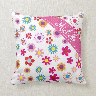 Motif Girly nommé fait sur commande floral de Coussin Décoratif