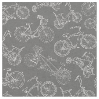 Motif gris-foncé vintage de bicyclette tissu