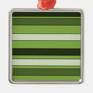 Motif horizontal vert de rayures de verdure ornement carré argenté