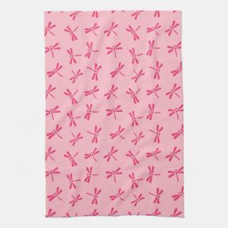 Motif japonais de libellule, rose de corail léger linge de cuisine