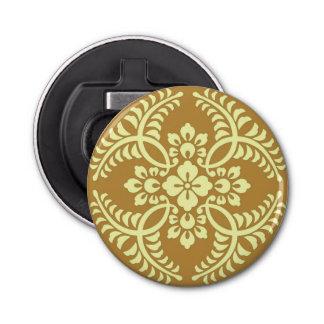 Motif japonais de médaillon, jaune de moutarde décapsuleur