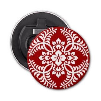 Motif japonais de médaillon, rouge-foncé et blanc décapsuleur
