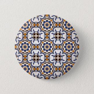 Motif jaune bleu d'Azulejo de Portugais vintage Badge Rond 5 Cm