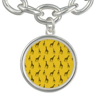 Motif jaune de girafe bracelets avec breloques
