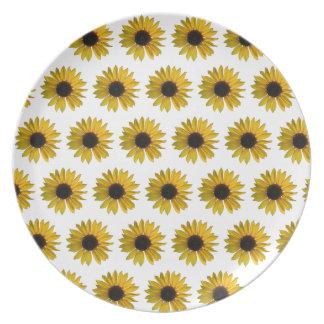 Motif jaune de tournesol assiettes en mélamine