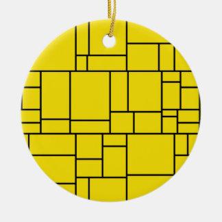 Motif jaune de tuile de pierre de bande dessinée ornement rond en céramique