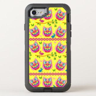 Motif jaune mignon de hiboux coque otterbox defender pour iPhone 7