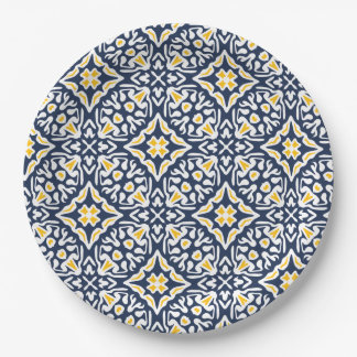 Motif méditerranéen de marine et de tuile de jaune assiettes en papier
