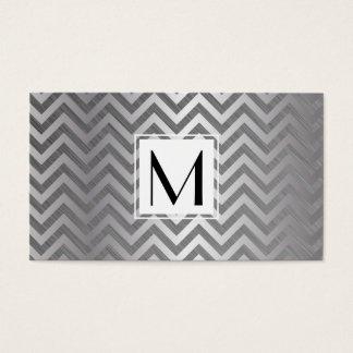 Motif métallique de Chevron de boîtier blanc de Cartes De Visite