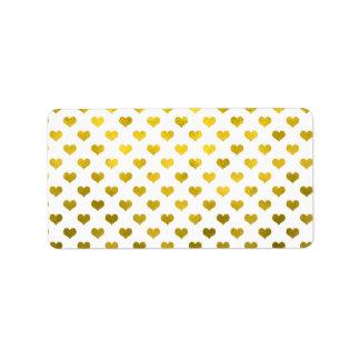 Motif métallique de coeur de point de polka de étiquette d'adresse