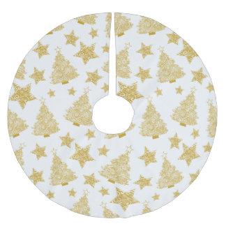 Motif métallique de Noël d'arbres et d'étoiles Jupon De Sapin En Polyester Brossé