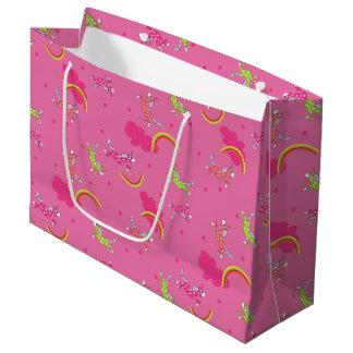 Motif mignon de bande dessinée de rose grand sac cadeau