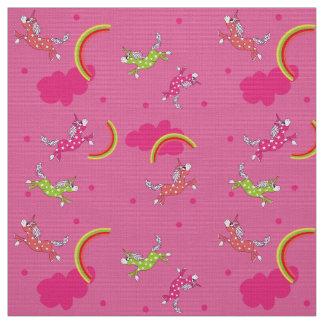 Motif mignon de bande dessinée de rose tissu