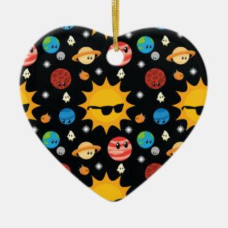 Motif mignon de l'espace de planètes ornement cœur en céramique