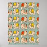 Motif mignon d'éléphant d'éléphants de cirque de b affiches