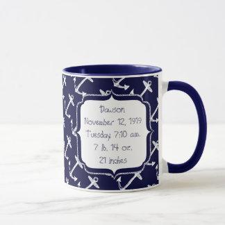 Motif nautique d'ancre de marine mug