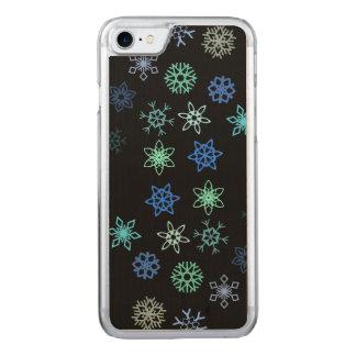 Motif noir de bourrasque de flocons de neige coque carved iPhone 8/7