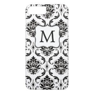 Motif noir de damassé, votre monogramme coque iPhone 7 plus