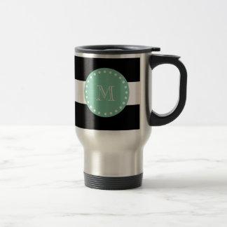Motif noir de rayures, monogramme vert en bon état mug de voyage en acier inoxydable