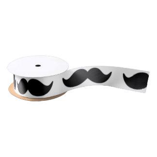 Motif noir et blanc 1 de moustache d'amusement ruban en satin