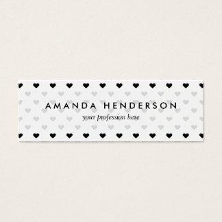 Motif noir et blanc de coeur mini carte de visite