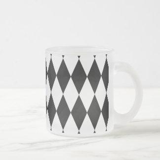 Motif noir et blanc de diamant tasse givré