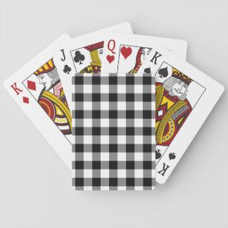 Motif noir et blanc de guingan cartes à jouer