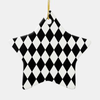 Motif noir et blanc de harlequin ornement étoile en céramique