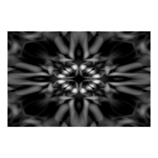 Motif noir et blanc de kaléidoscope poster