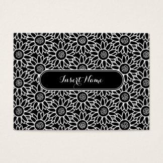 Motif noir et blanc de tournesol cartes de visite