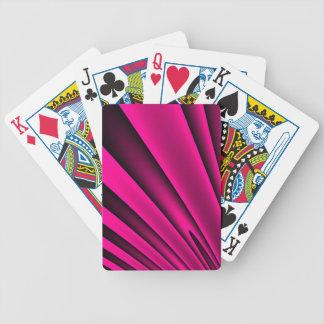 Motif noir rose fluorescent de rayure cartes à jouer