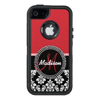 Motif noir rouge de damassé, votre monogramme coque OtterBox iPhone 5, 5s et SE