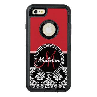 Motif noir rouge de damassé, votre monogramme coque OtterBox iPhone 6 et 6s plus