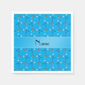 Motif nommé personnalisé de badminton de bleu de serviette jetable