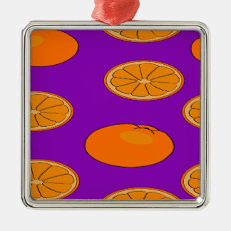 Motif orange de fruit ornement carré argenté
