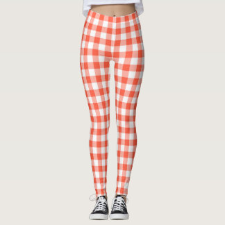 Motif orange et blanc de guingan leggings