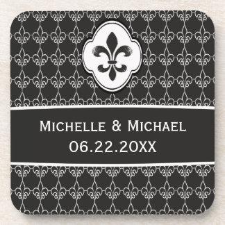 Motif personnalisé de Black Fleur de Lis Chain Dessous-de-verre