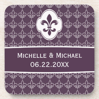 Motif personnalisé de Purple Fleur de Lis Chain Dessous-de-verre
